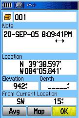 Garmin GPSMAP 60C GPS receiver mark waypoint page