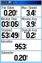 Garmin GPSMAP 60C GPS receiver trip computer page