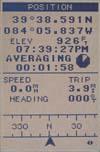 Magellan SporTrak Topo GPS receiver position screen