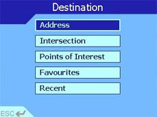 Navman iCN 630 destination page