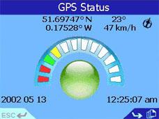 Navman iCN 630 GPS Status Page