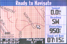 Garmin Quest GPS receiver map page