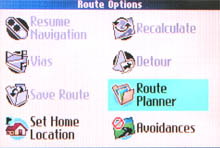 Garmin Quest route options page