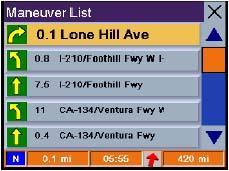 Magellan RoadMate 500 GPS receiver Maneuver Page