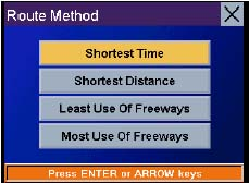 Magellan RoadMate 500 GPS receiver Route Method Page