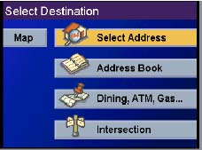 Magellan RoadMate 500 GPS receiver Select Destination Page