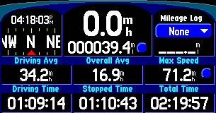 Garmin Street Pilot 2610 GPS receiver Trip Information Page