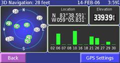 Garmin StreetPilot 2730 GPS info page