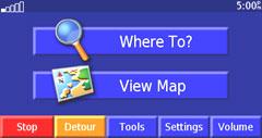 Garmin StreetPilot 2730 menu page