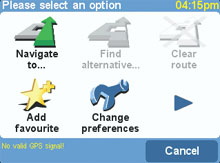 TomTom Go options menu page