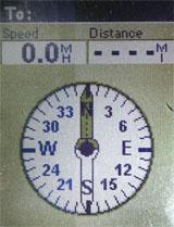 Magellan eXplorist 100 GPS receiver compass screen