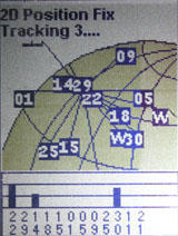 Magellan eXplorist 100 GPS satellite status page