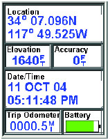 Magellan eXplorist 500 GPS receiver position screen