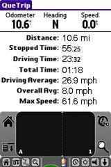 Garmin iQue 3600 GPS receiver trip page