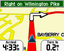 Garmin StreetPilot i3 navigation page